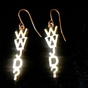 """Jewelry - WWJD Gold toned earrings """"What Would Jesus Do?"""""""